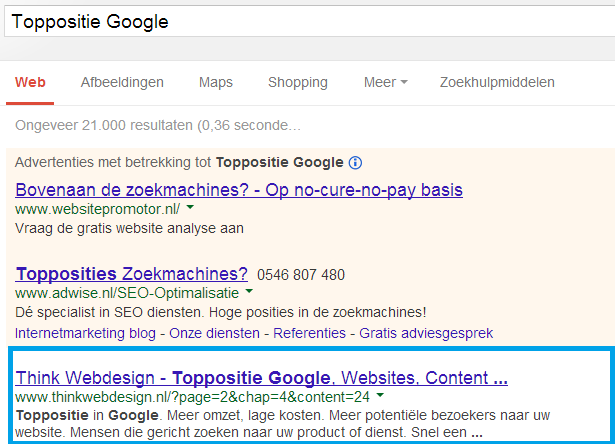 Toppositie Google