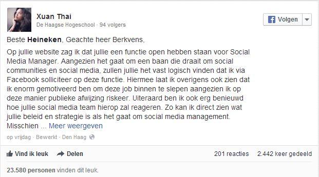 sollicitatie heineken Sollicitatie Xuan Thai   MarketingMed.nl sollicitatie heineken