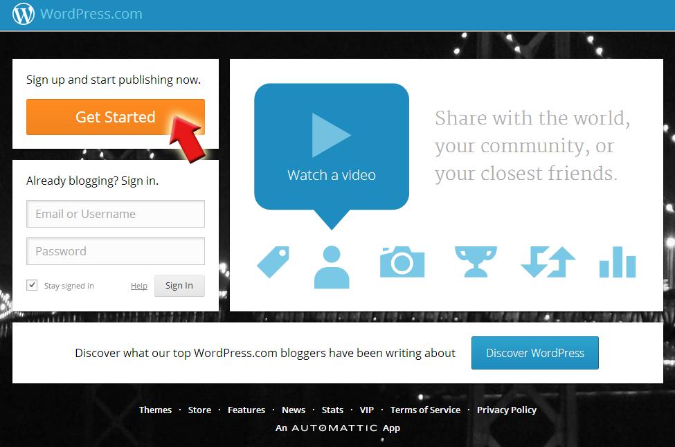 Aanmelden bij WordPress.com
