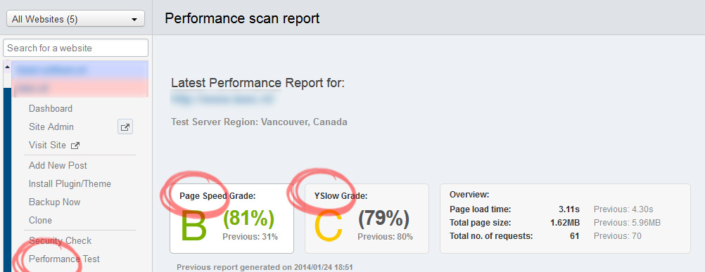 ManageWP Performance Check