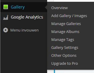 Menu opties NextGEN plugin
