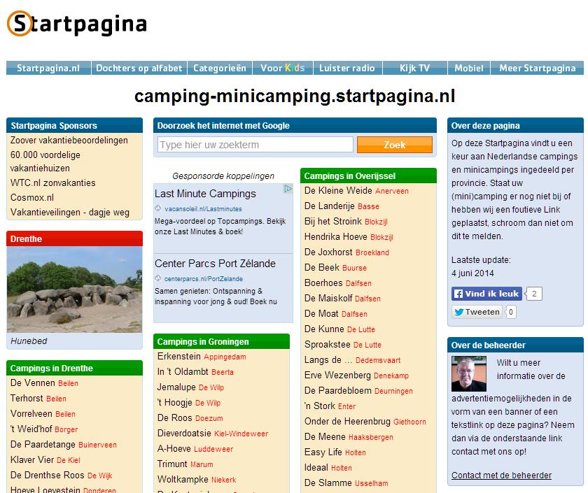 minicampingstartpagina