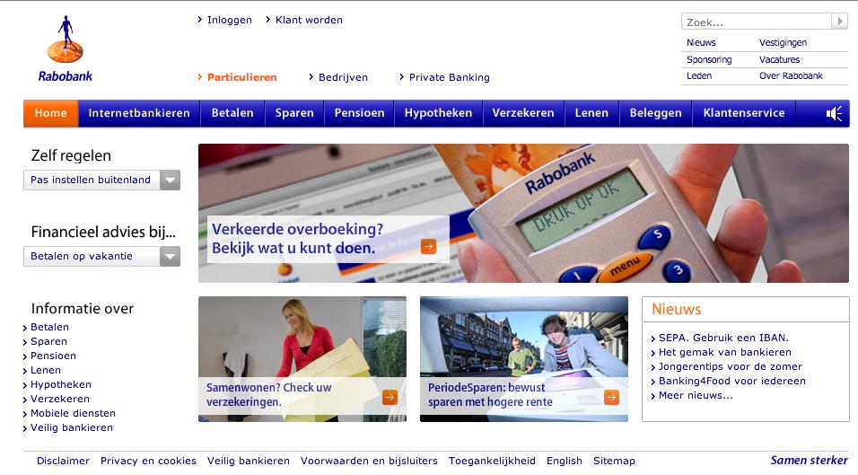 Rabobank website mist een call to action en converteert dus niet