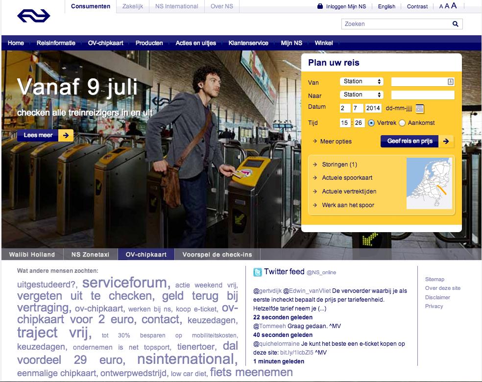 Website NS - bezoeker wordt niet verleid - website converteert niet