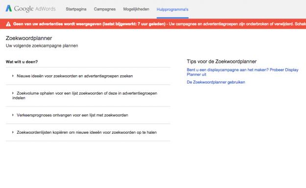 Google Adwords zoekwoordplanner