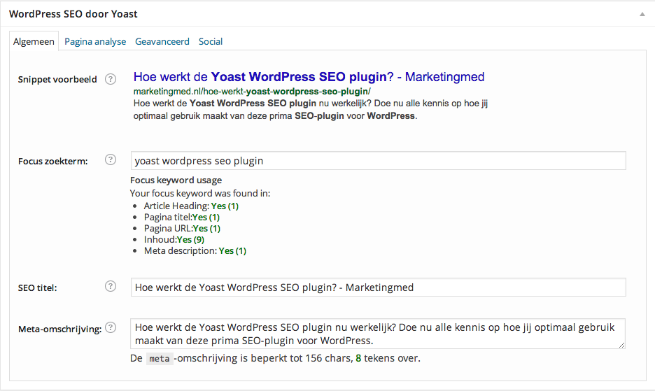 Yoast SEO WordPress Plugin tabbladen