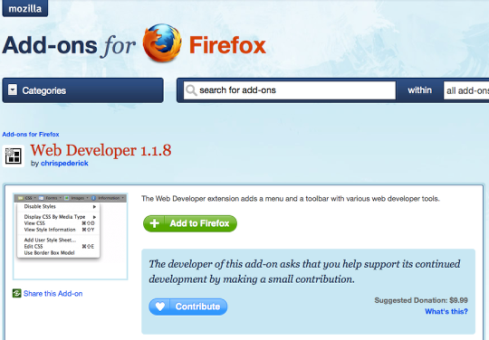 web developer plugin for Firefox