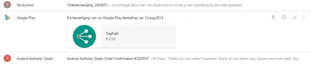 Orderbevestigingen binnen Inbox Google
