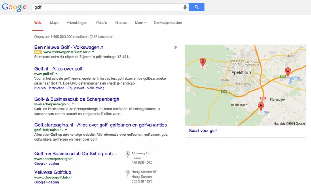 Zoekwoord versus zoekterm - Golf in Google