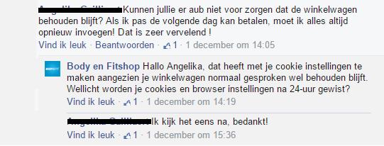 Reactie Webcare team op Facebook