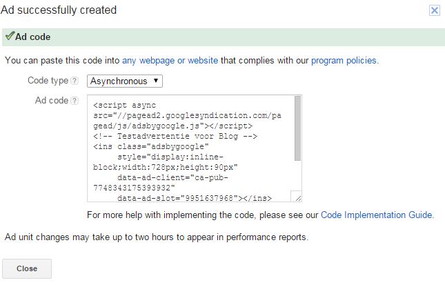 Adsense code advertentie weergeven