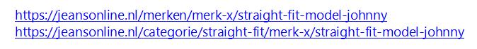 Duplicate content URL in webshop