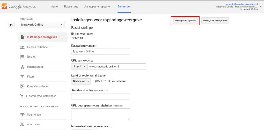 Filters instellen in Google Analytics - stap 2