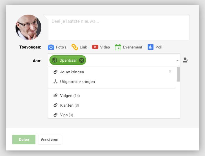 Kies je kringen voor je een bericht plaatst op Google+