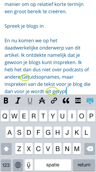 Blog inspreken WordPress iOS app - spelfouten