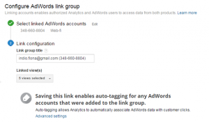 Configureren van AdWords Link Group