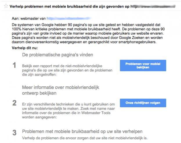 Melding niet mobielvriendelijke website Google Webmaster Tools