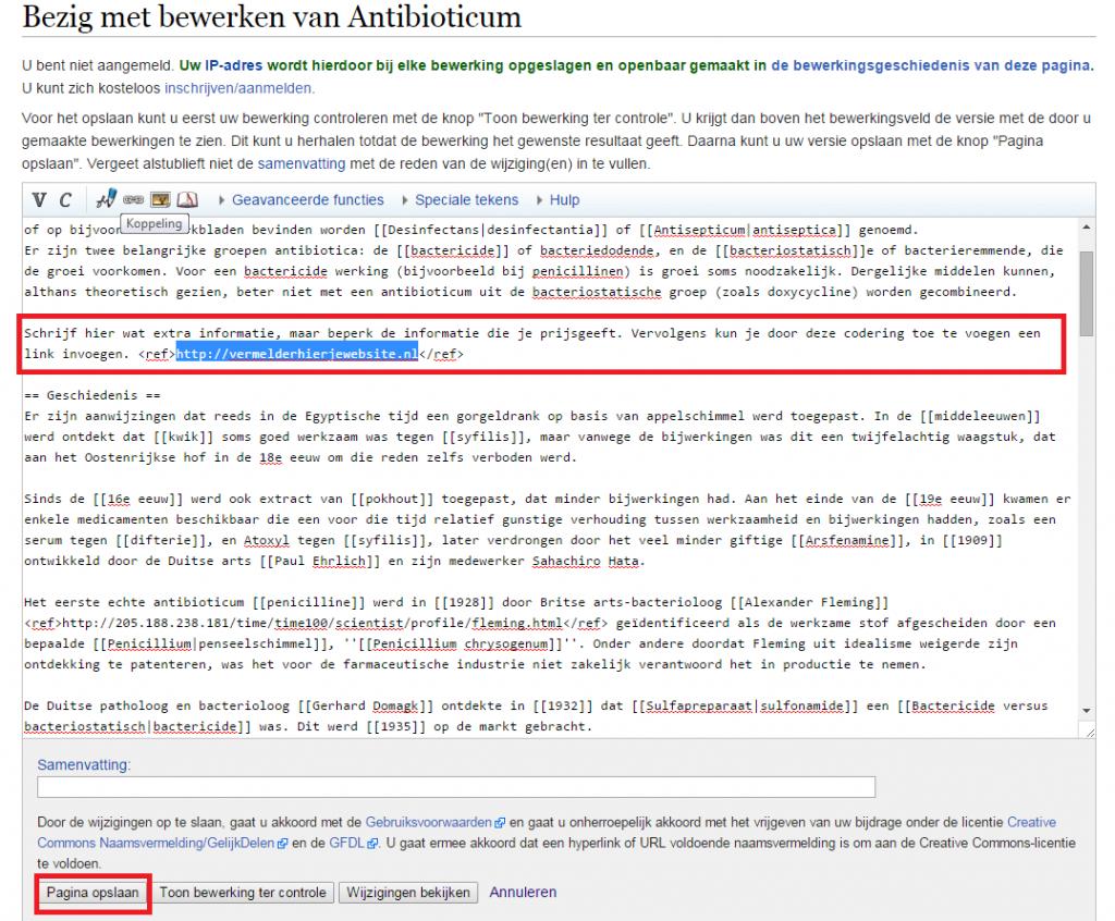Bewerken Wikipedia pagina