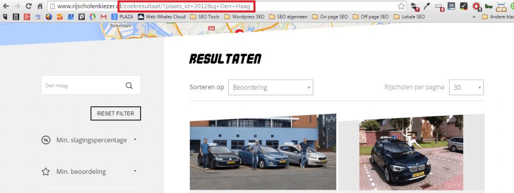 URL van rijscholenkiezer waarmee een zoekresultaat wordt weergegeven