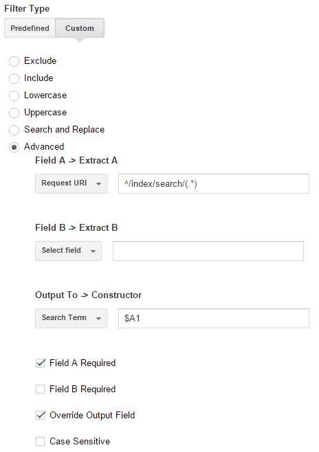 Filter type instellen Google Analytics