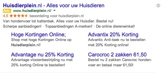 Gebruik Highlight Extensie Google Adwords