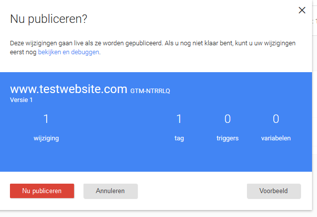 Nieuwe tag in Google Tag manager publiceren