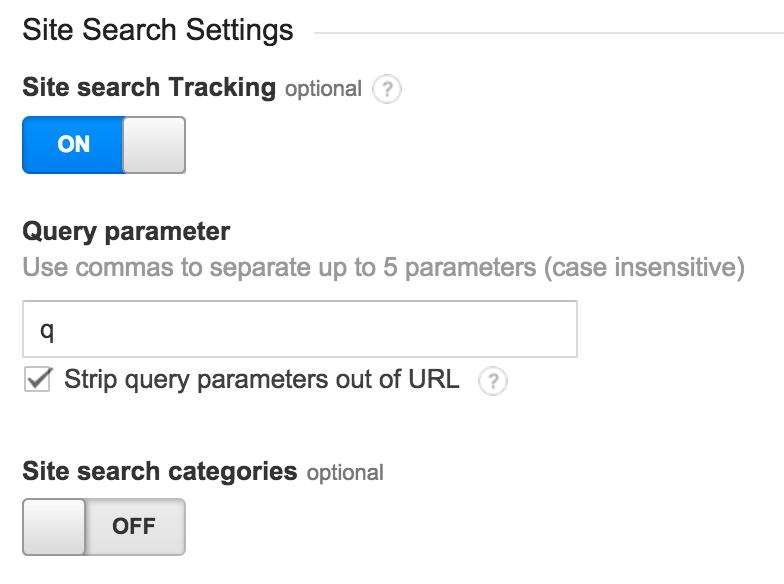 Site search instellingen Google Analytics