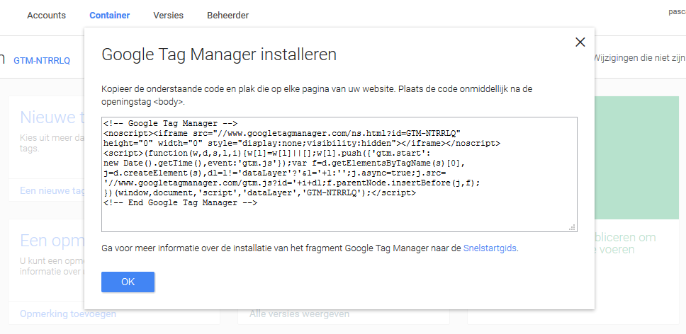 Uitleg Google Tag Manager installeren