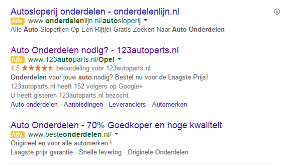 zichtbare URL in Google Adwords