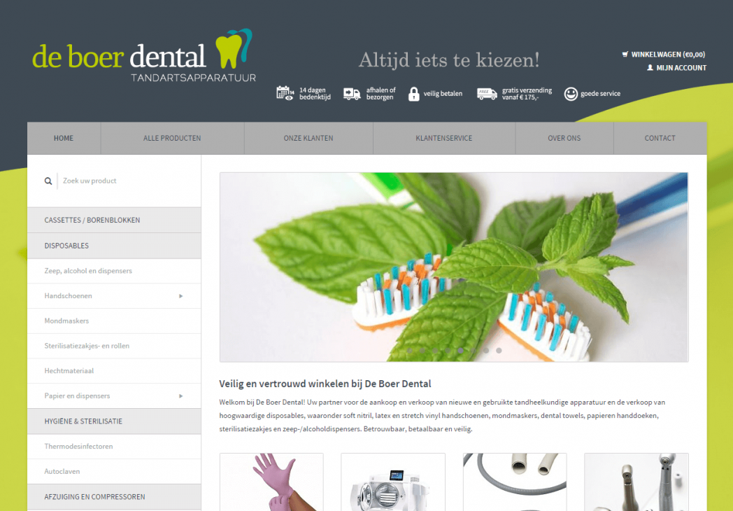 Website De Boer Dental op desktop