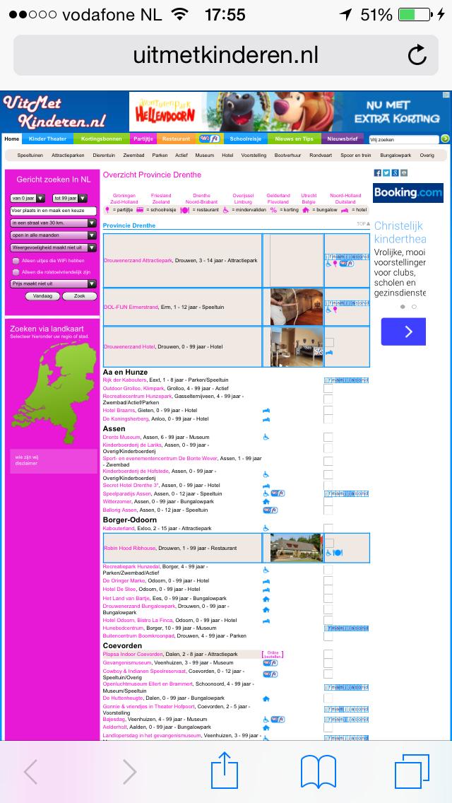 Ook de website van uitmetkinderen.nl is verre van mobielvriendelijk