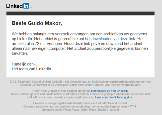 Bevestigings e-mail LinkedIn Back-up