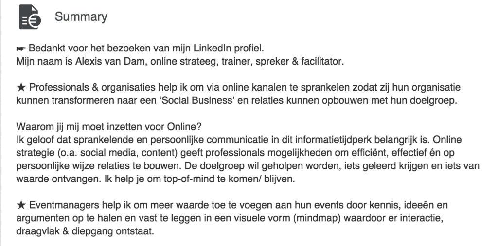 Linkedin Samenvatting schrijven