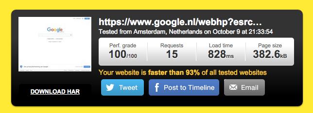 Normale website versie met AMP HTML