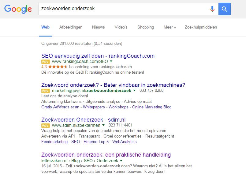 Zoekwoorden onderzoek in Google op 1