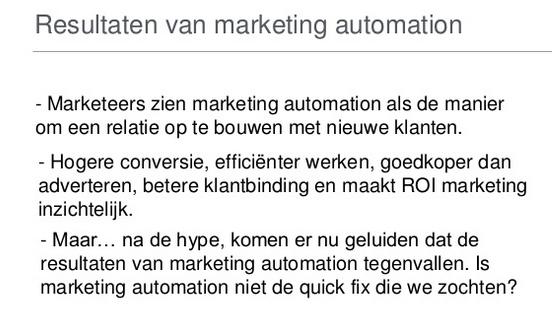 Resultaten van Marketing Automation